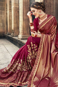 Bhelpuri Fancy Fabric Maroon Embroidered With Stone Work Saree