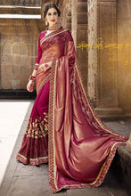 Load image into Gallery viewer, Bhelpuri Fancy Fabric Maroon Embroidered With Stone Work Saree