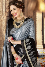 Load image into Gallery viewer, Bhelpuri Fancy Fabric Grey & Black Embroidered With Stone Work Saree
