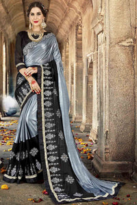 Bhelpuri Fancy Fabric Grey & Black Embroidered With Stone Work Saree