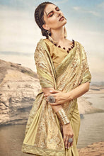 Load image into Gallery viewer, Bhelpuri Fancy Fabric Gold Heavy Embroidered Flowers Work Saree