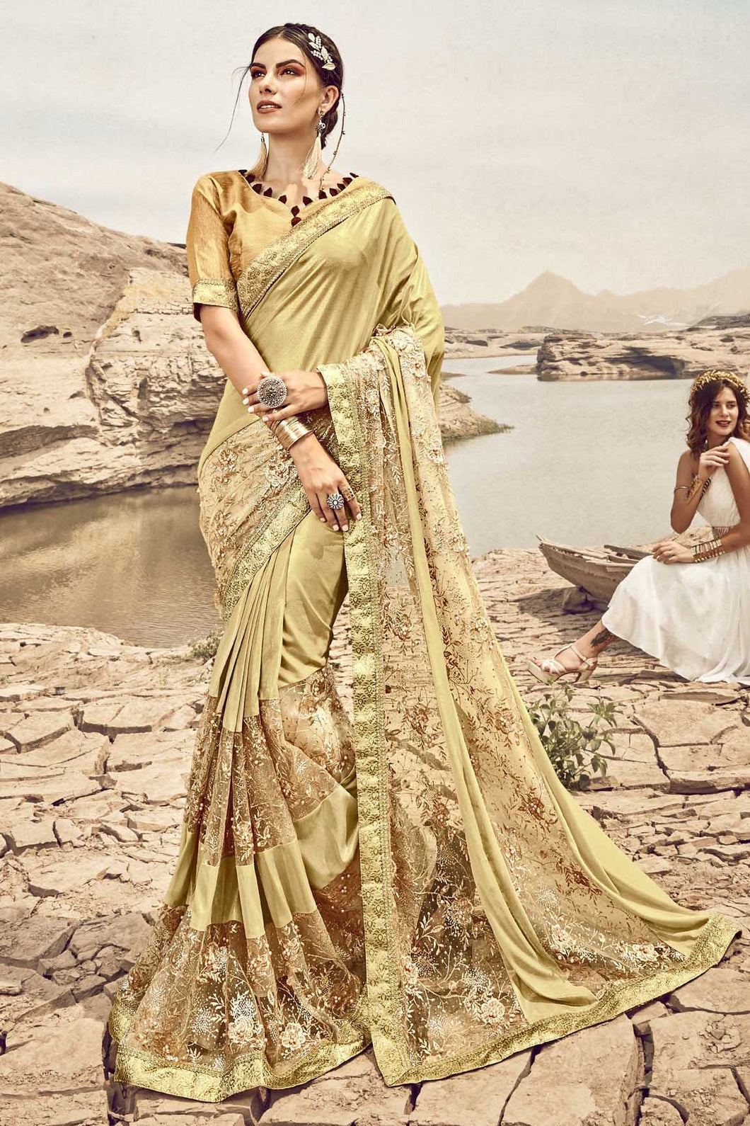 Bhelpuri Fancy Fabric Gold Heavy Embroidered Flowers Work Saree