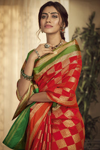 Bhelpuri Handloom WeavingSilk Red Weaving With Jacquard Work Saree