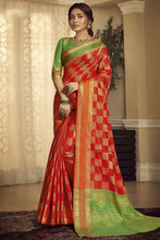 Load image into Gallery viewer, Bhelpuri Handloom WeavingSilk Red Weaving With Jacquard Work Saree