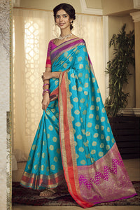 Bhelpuri Handloom WeavingSilk Sky Blue Weaving With Jacquard Work Saree