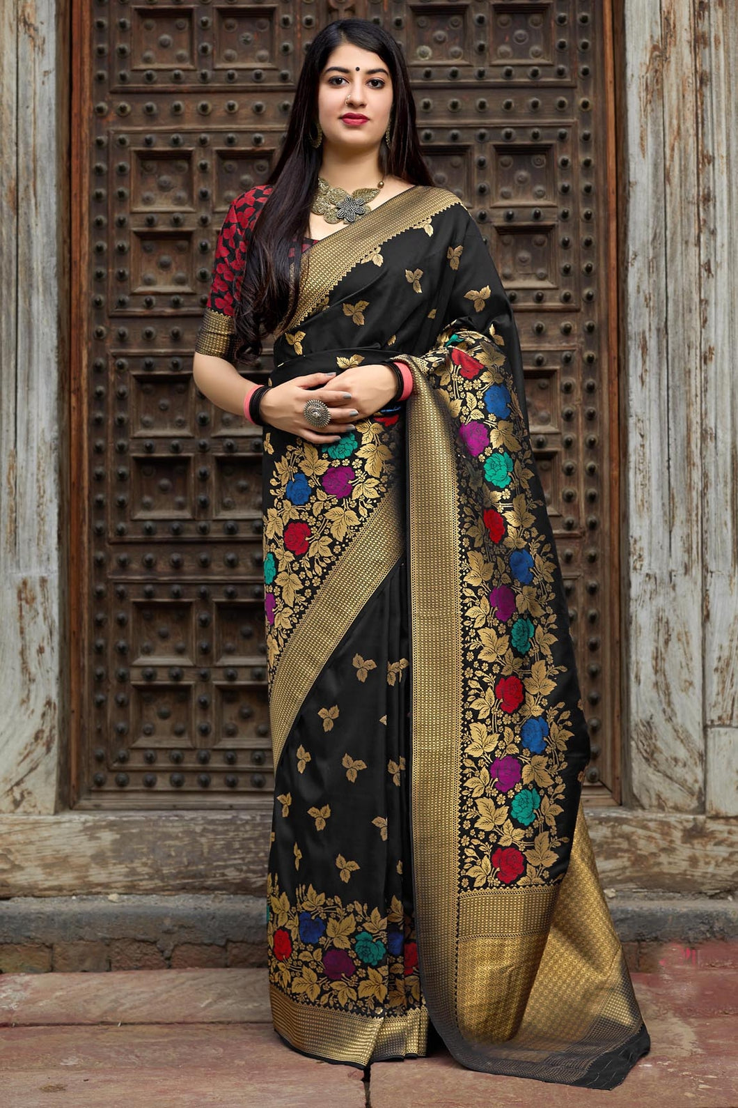 Bhelpuri Banarasi Silk Black Weaving With Jacquard Work Saree