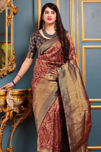 Bhelpuri Banarasi Silk Maroon Weaving With Jacquard Work Saree