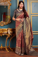 Load image into Gallery viewer, Bhelpuri Banarasi Silk Maroon Weaving With Jacquard Work Saree