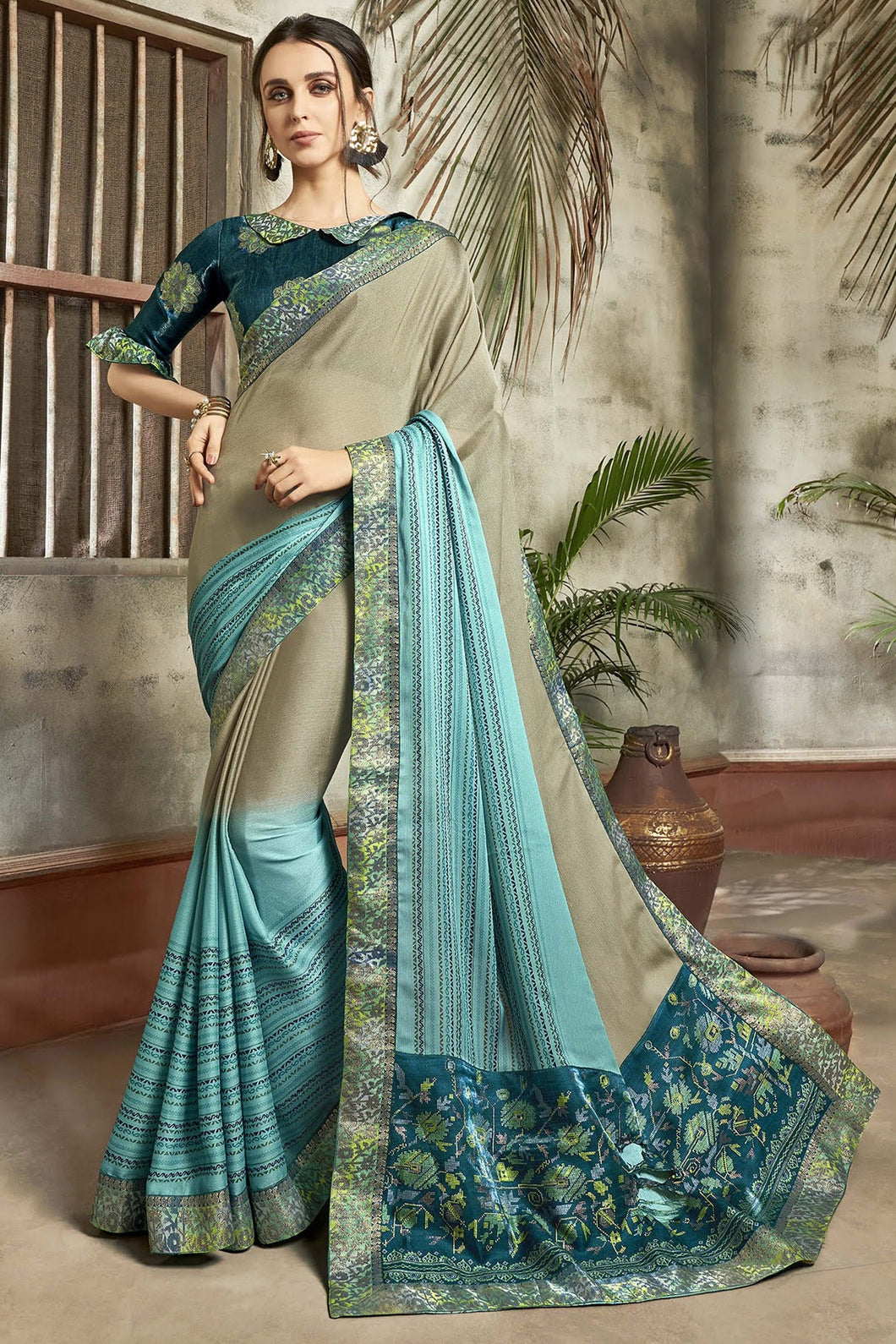 Bhelpuri Multi Chiffon Printed Work Saree with Blouse Piece