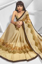 Load image into Gallery viewer, Bhelpuri Beige Chiffon Printed Saree with Blouse Piece