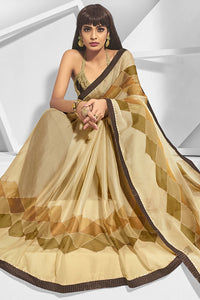 Bhelpuri Beige Chiffon Printed Saree with Blouse Piece