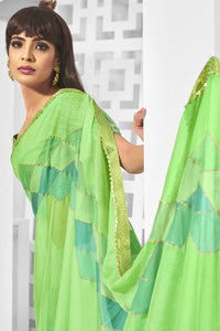 Bhelpuri Light Green Chiffon Printed Saree with Blouse Piece