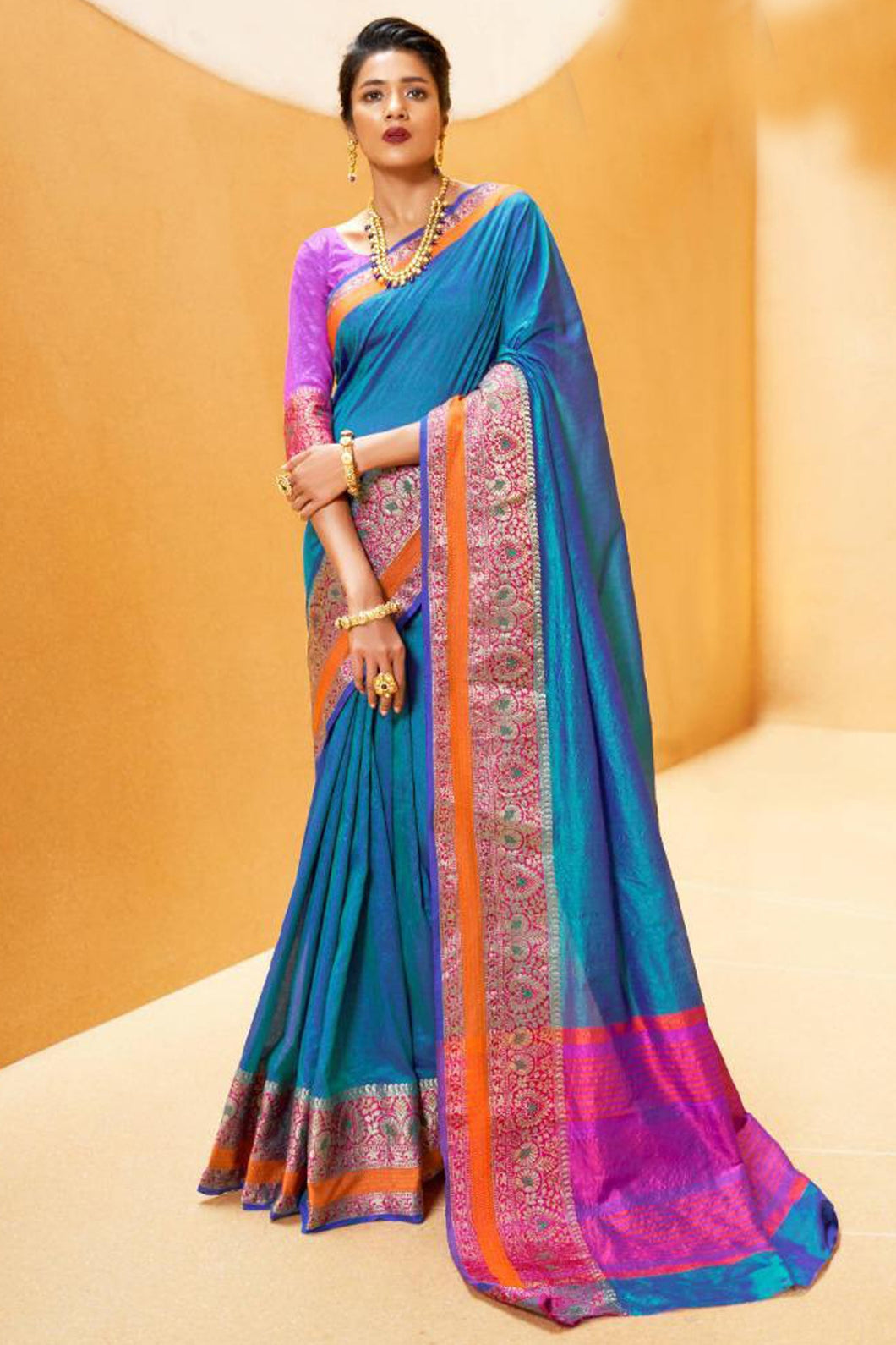 Bhelpuri Blue Silk Woven Saree with Blouse Piece