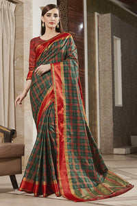 Bhelpuri Multicoloured Weaving Silk Woven Saree with Blouse Piece