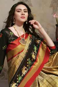 Bhelpuri Multicoloured Star Silk Printed Saree with Blouse Piece