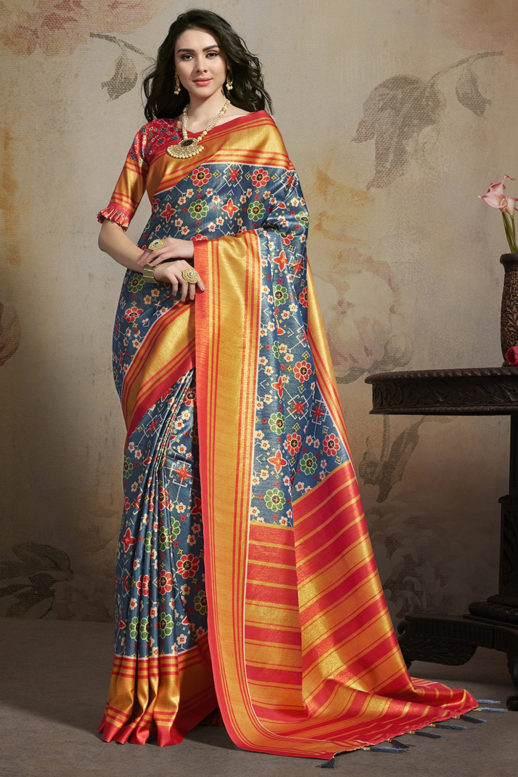 Bhelpuri Blue Star Silk Printed Saree with Blouse Piece