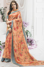 Load image into Gallery viewer, Bhelpuri Light Orange Pure Organza Printed Saree with Blouse Piece