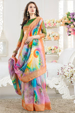 Load image into Gallery viewer, Bhelpuri MultiColor Linen Printed Saree with Blouse Piece