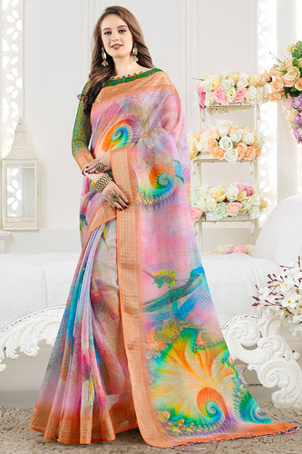 Bhelpuri MultiColor Linen Printed Saree with Blouse Piece