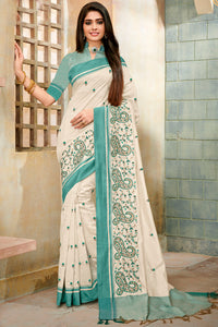 Bhelpuri Off White Cotton Silk Embroidered Saree with Blouse Piece