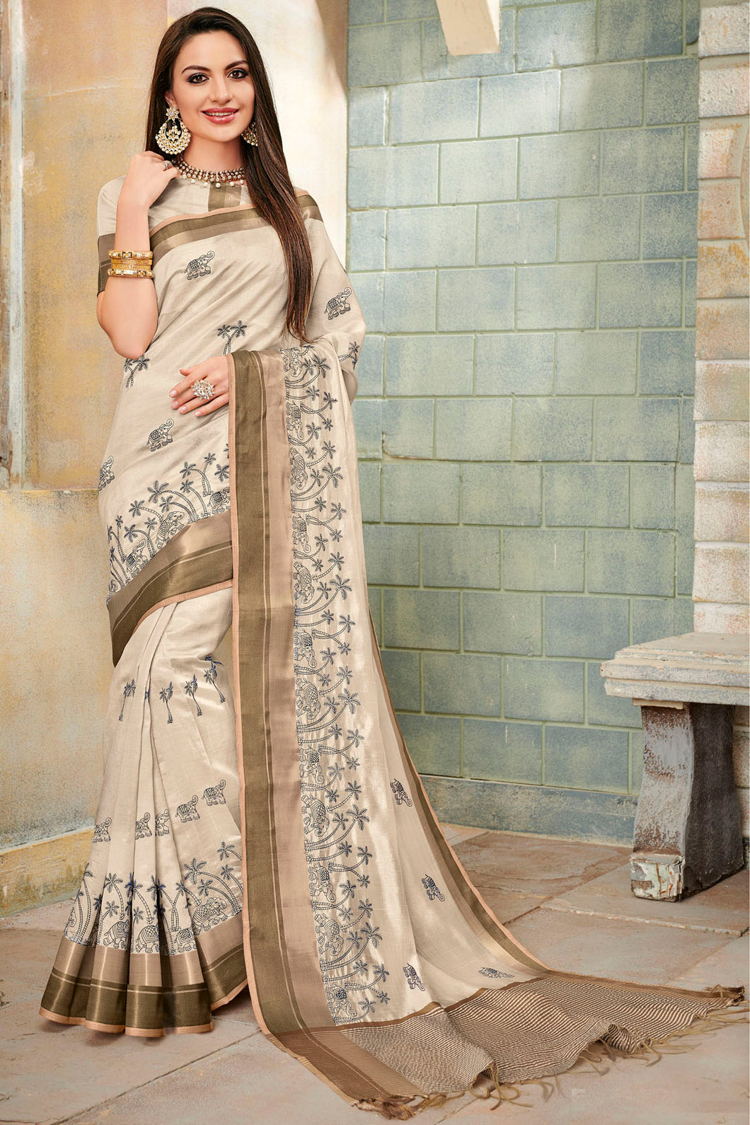 Bhelpuri Cream Cotton Silk Embroidered Saree with Blouse Piece
