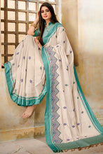 Load image into Gallery viewer, Bhelpuri Cream Cotton Silk Embroidered Saree with Blouse Piece