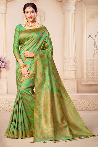 Bhelpuri Green & Golden Banarasi Silk Woven Traditional Saree with Blouse Piece