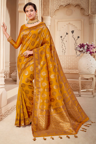 Bhelpuri Mustard & Golden Banarasi Silk Woven Traditional Saree with Blouse Piece