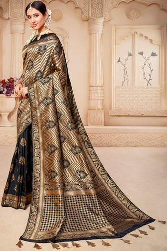 Bhelpuri Black & Golden Banarasi Silk Woven Traditional Saree with Blouse Piece