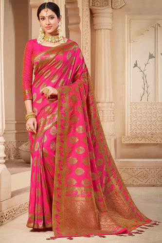 Bhelpuri Pink & Golden Banarasi Silk Woven Traditional Saree with Blouse Piece