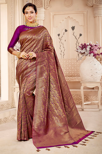 Bhelpuri Purple & Golden Banarasi Silk Woven Traditional Saree with Blouse Piece