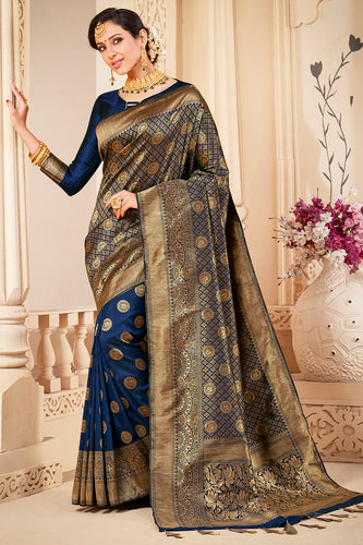 Bhelpuri Navy Blue & Golden Banarasi Silk Woven Traditional Saree with Blouse Piece