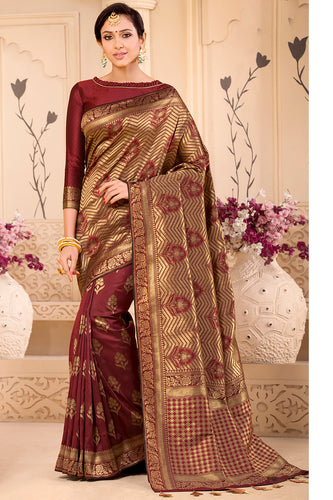 Bhelpuri Brown & Golden Banarasi Silk Woven Traditional Saree with Blouse Piece