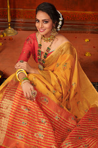Bhelpuri Yellow Mina Art Silk Woven Saree with Blouse Piece