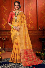 Load image into Gallery viewer, Bhelpuri Yellow Mina Art Silk Woven Saree with Blouse Piece
