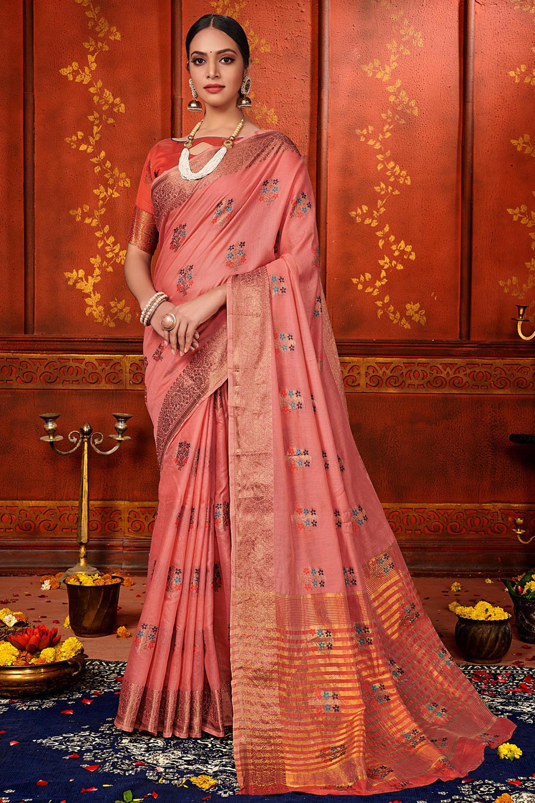 Bhelpuri Light Maroon Mina Art Silk Woven Saree with Blouse Piece
