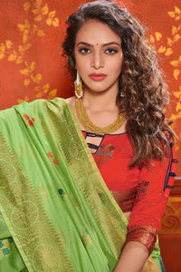 Bhelpuri Light Green Mina Art Silk Woven Saree with Blouse Piece
