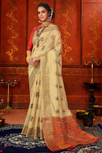 Load image into Gallery viewer, Bhelpuri Cream Mina Art Silk Woven Saree with Blouse Piece