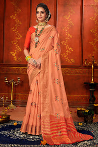 Bhelpuri Peach Mina Art Silk Woven Saree with Blouse Piece
