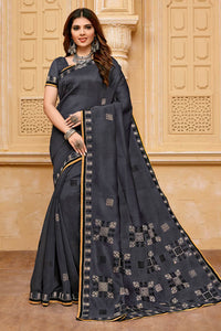 Bhelpuri Dark Grey Chanderi Cotton  Woven Saree with Blouse Piece