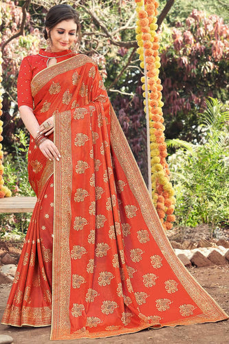 Bhelpuri Orange Art Silk Printed, Stone Work Saree with Blouse Piece