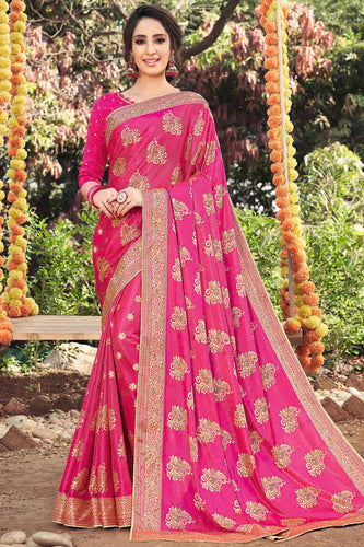 Bhelpuri Pink Art Silk Printed, Stone Work Saree with Blouse Piece