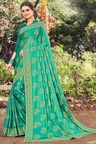 Bhelpuri Green Art Silk Printed, Stone Work Saree with Blouse Piece
