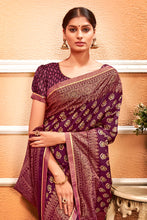 Load image into Gallery viewer, Bhelpuri Violet Vichitra Silk Golden Zari Foil Work Saree with Blouse Piece