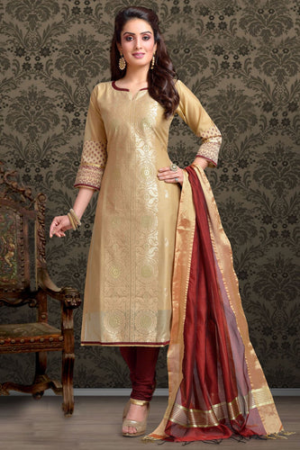 Bhelpuri Chanderi  Dark Beige Designer Party Wear Salwar Suit
