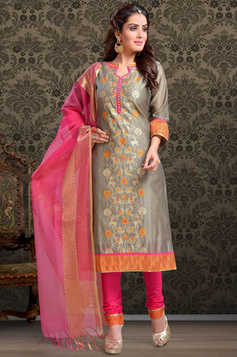 Bhelpuri Chanderi Grey Designer Party Wear Salwar Suit