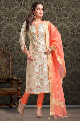 Bhelpuri Chanderi Beige Designer Party Wear Salwar Suit