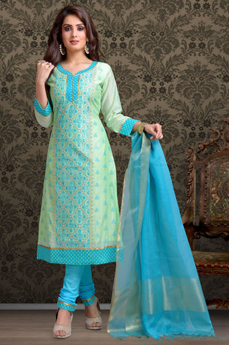 Bhelpuri Chanderi  Sea Green Designer Party Wear Salwar Suit