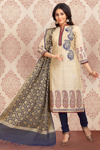 Bhelpuri Chanderi Checks Beige Designer Party Wear Salwar Suit