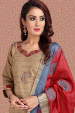 Load image into Gallery viewer, Bhelpuri Tussar Slub  Dark Beige Designer Party Wear Salwar Suit